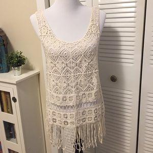 Rue 21 boho chic crochet lace coverup M